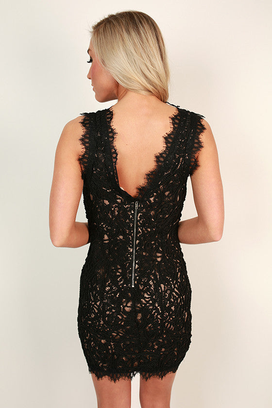 Bat My Lashes Lace Mini Dress in Black
