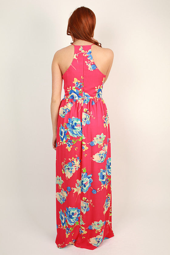 Floral Friendly Maxi Dress in Hot Pink