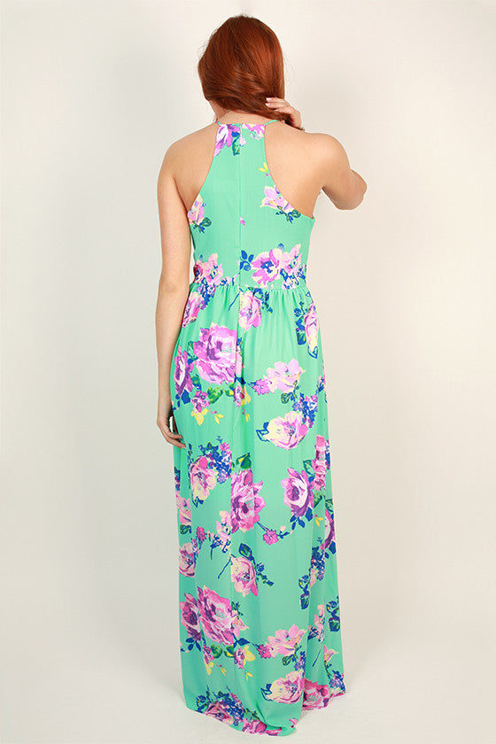 Floral Friendly Maxi Dress in Ocean Wave