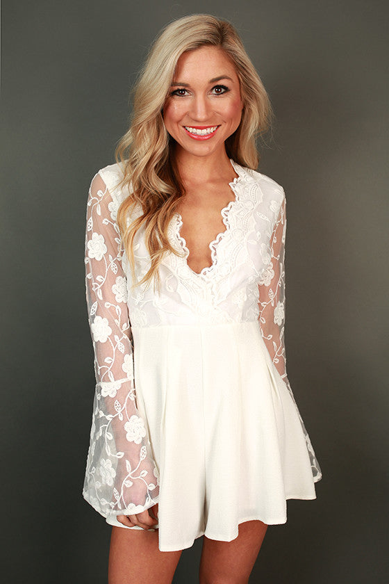 Pretty in Paris Lace Romper in White