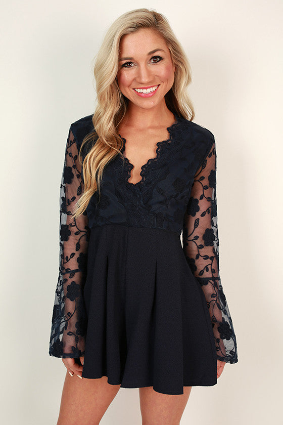 Pretty in Paris Lace Romper in Navy