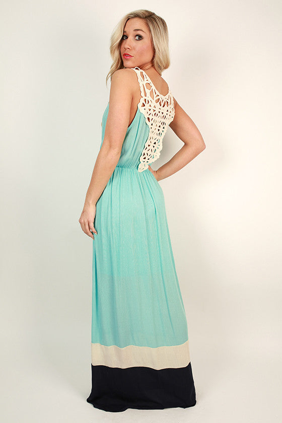 Salty Beach Kisses Color Block Maxi in Aqua Sky