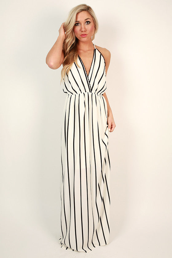 Tropical Cocktails Stripe Maxi Dress