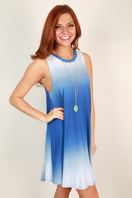 Road Trip Ready Ombre Tank Dress in Blue