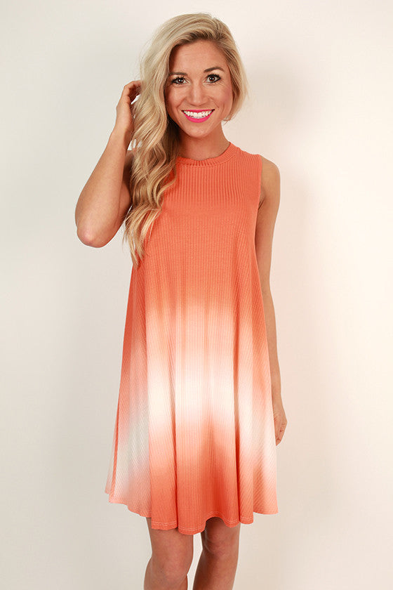 Road Trip Ready Ombre Tank Dress in Nectarine