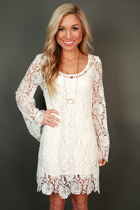 Champagne & Crochet Shift Dress