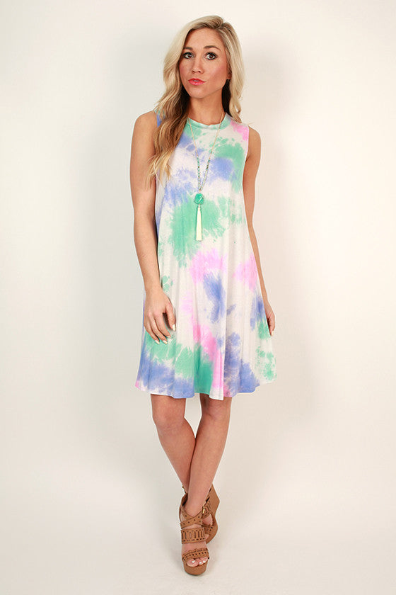 Road Trip Ready Tie Dye Tank Dress in Rainbow