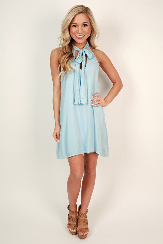 Champagne & Shine Shift Dress in Sky Blue