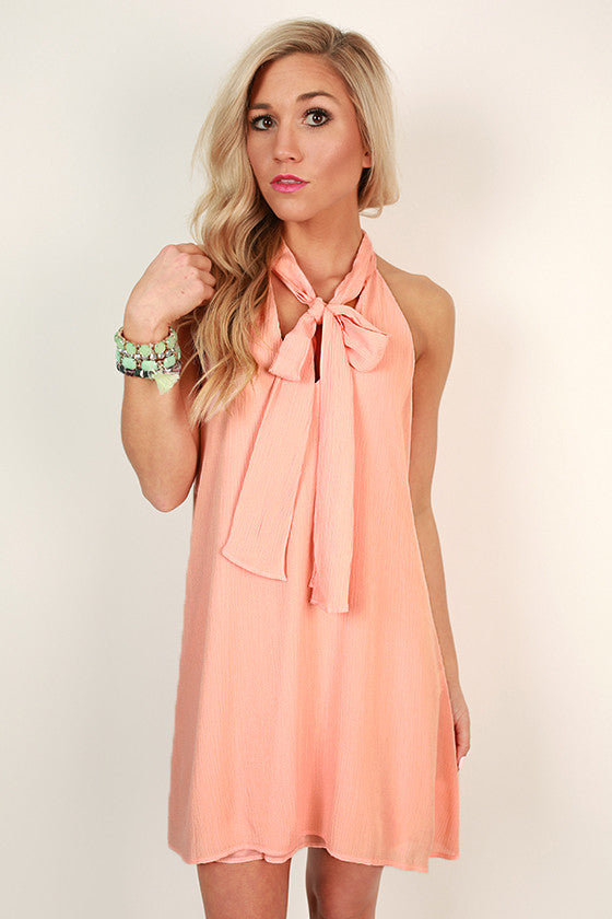 Champagne & Shine Shift Dress in Peach
