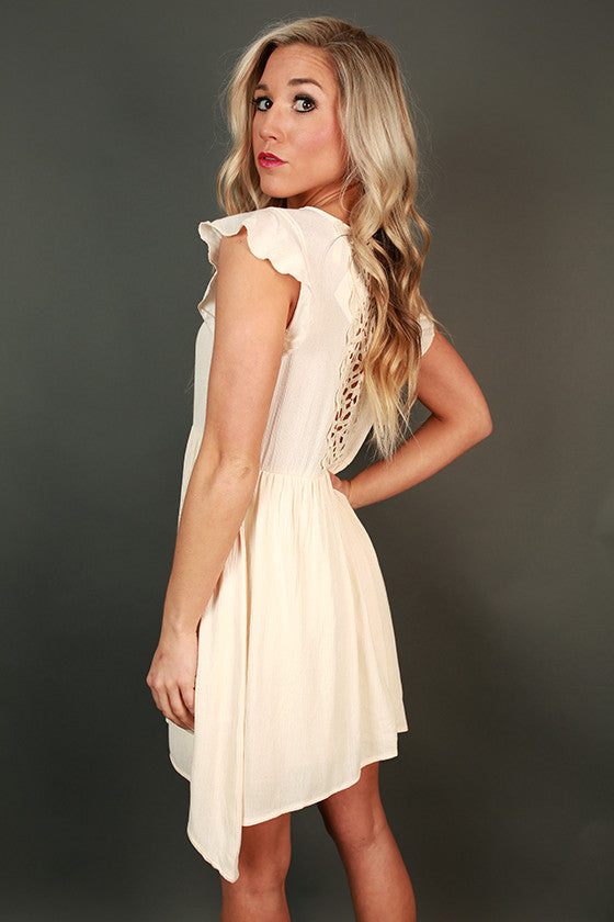 Party In The Garden Crochet Dress in Cream