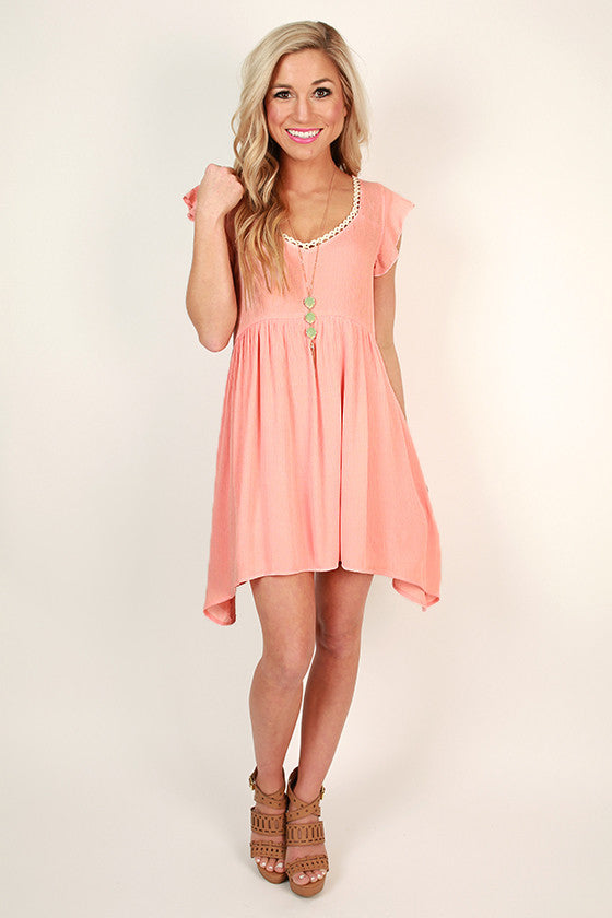Party In The Garden Crochet Dress in Peach