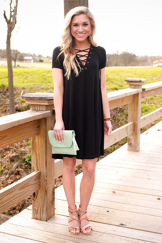 Lola Luxe Lace Up Shift Dress in Black