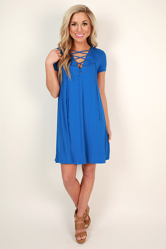 Lola Luxe Lace Up Shift Dress in Sapphire