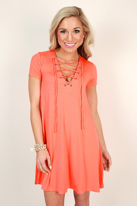 Lola Luxe Lace Up Shift Dress in Coral