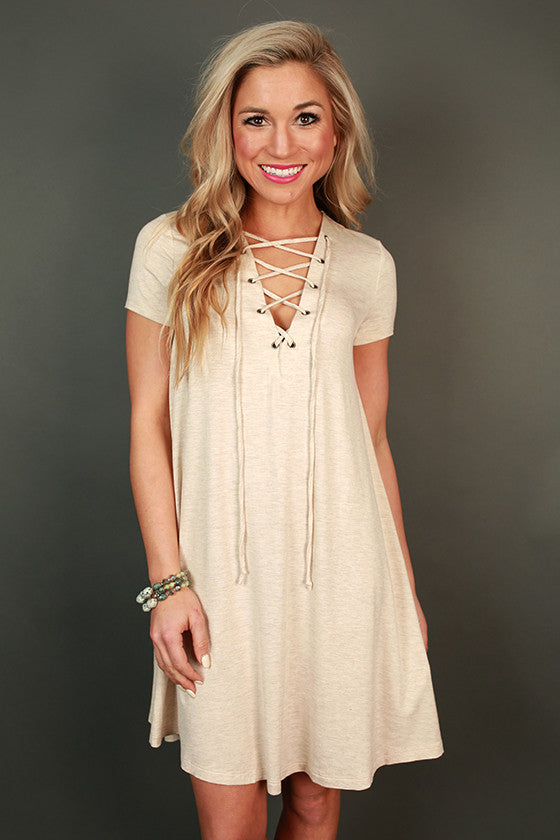Lola Luxe Lace Up Shift Dress in Stone