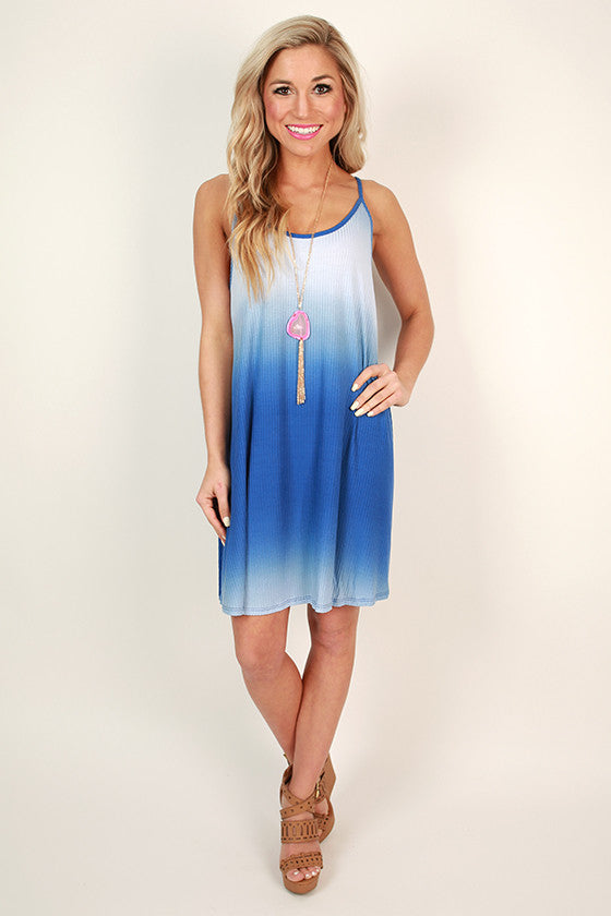Beach Vibes Ombre Shift Dress in Blue