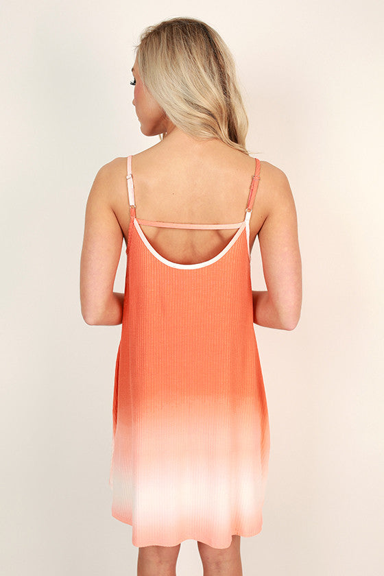 Beach Vibes Ombre Shift Dress in Nectarine