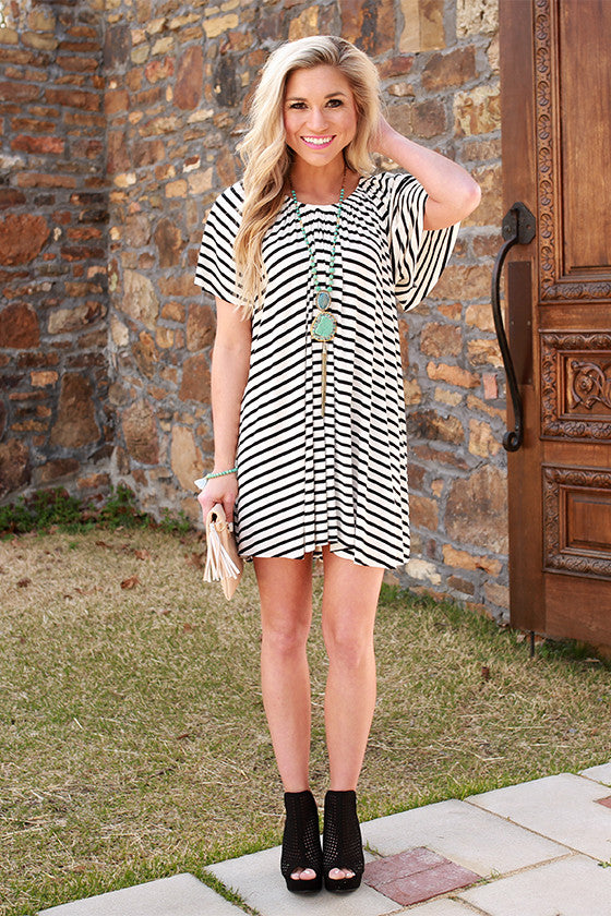 Sunshine & Twirls Stripe Shift Dress in White