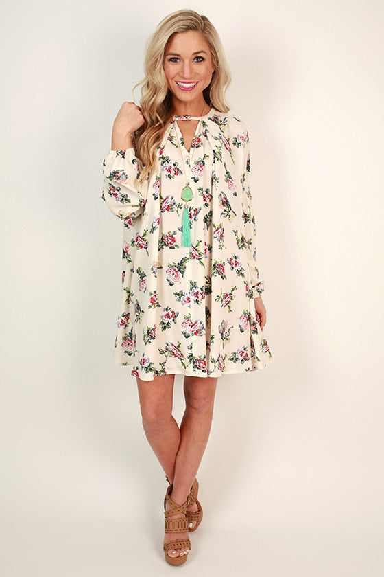 Flowers For Me Shift Dress in Ivory
