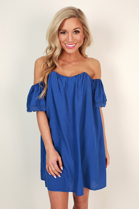 Sunkissed Shoulders Shift Dress in Royal Blue