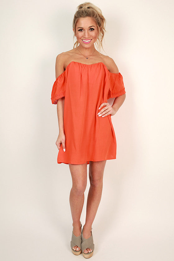 Sunkissed Shoulders Shift Dress in Tangerine