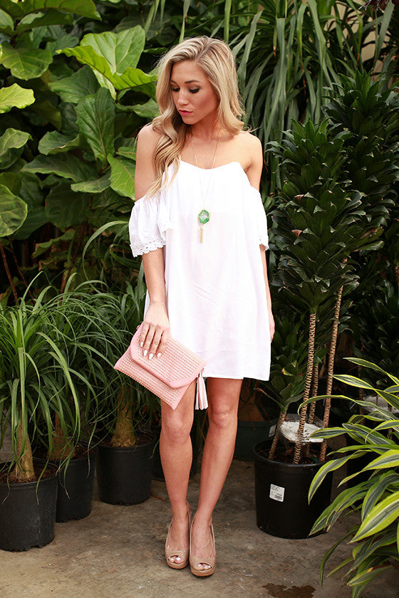 Sunkissed Shoulders Shift Dress in White