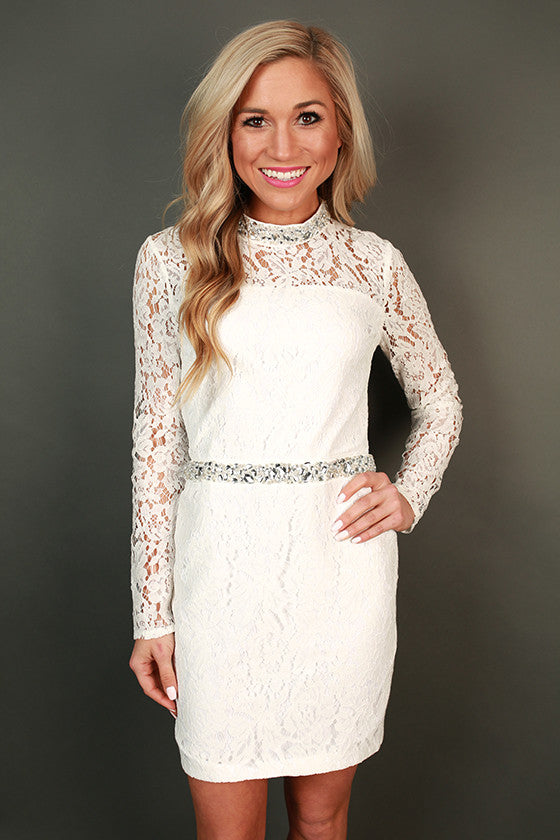 Sparkles & Lace Open Back Mini Dress