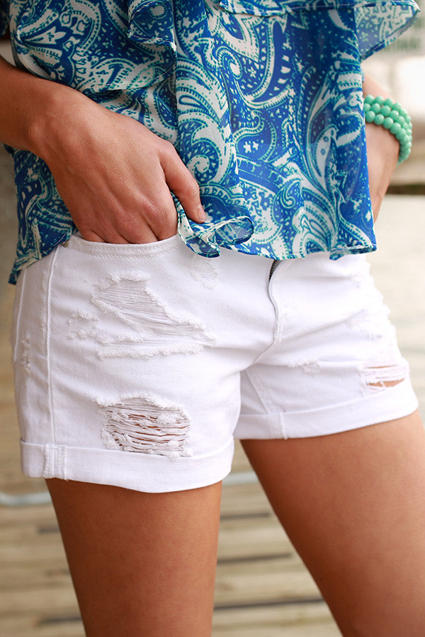 Distressed Boyfriend Cuffed Shorts in White