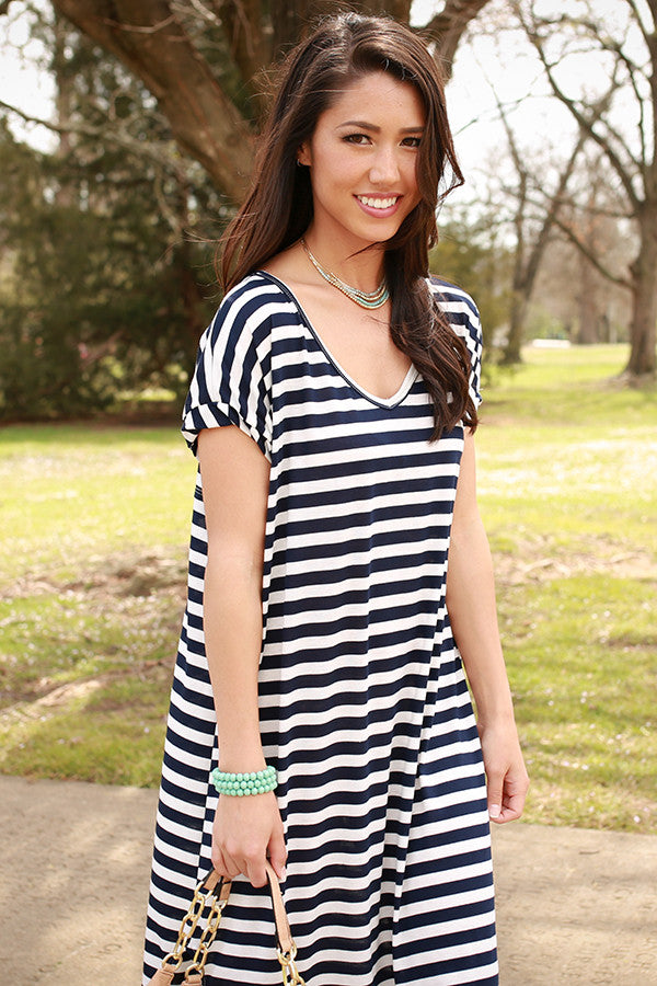 Beachy Keen Stripe T-shirt Maxi in Navy