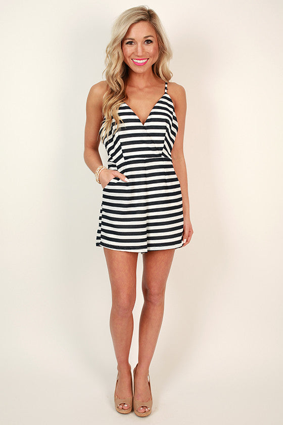 Right Back Atcha' Stripe Romper in Navy