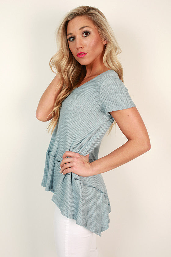 Nice & Easy V-Neck Tee in Sky Blue