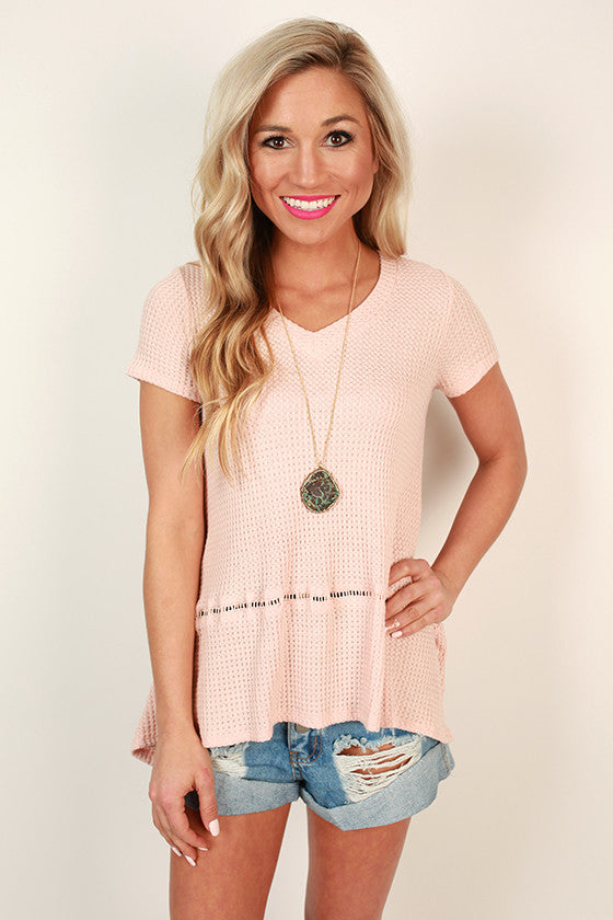 Nice & Easy V-Neck Tee in Rose Quartz