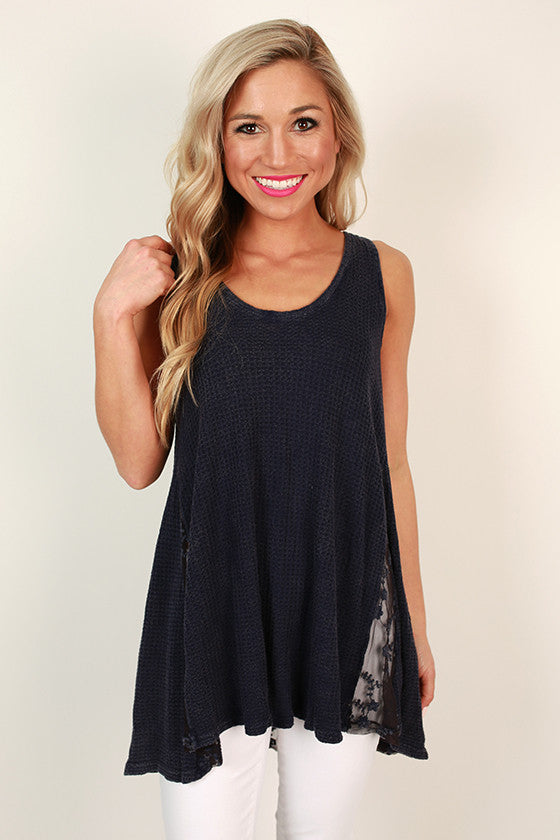 Along for the Ride Tank in Dark Blue
