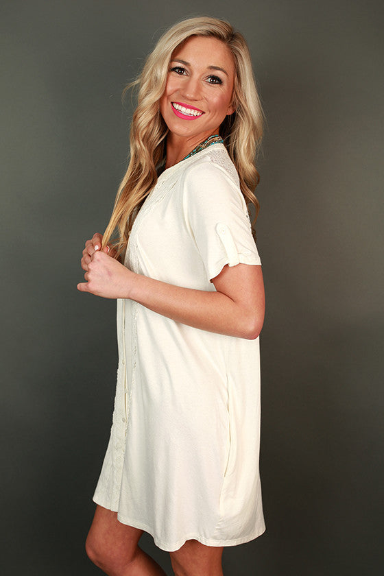 Yours Truly Shirt Dress in White