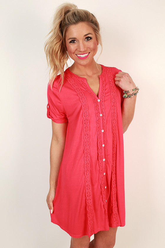 Yours Truly Shirt Dress in Raspberry