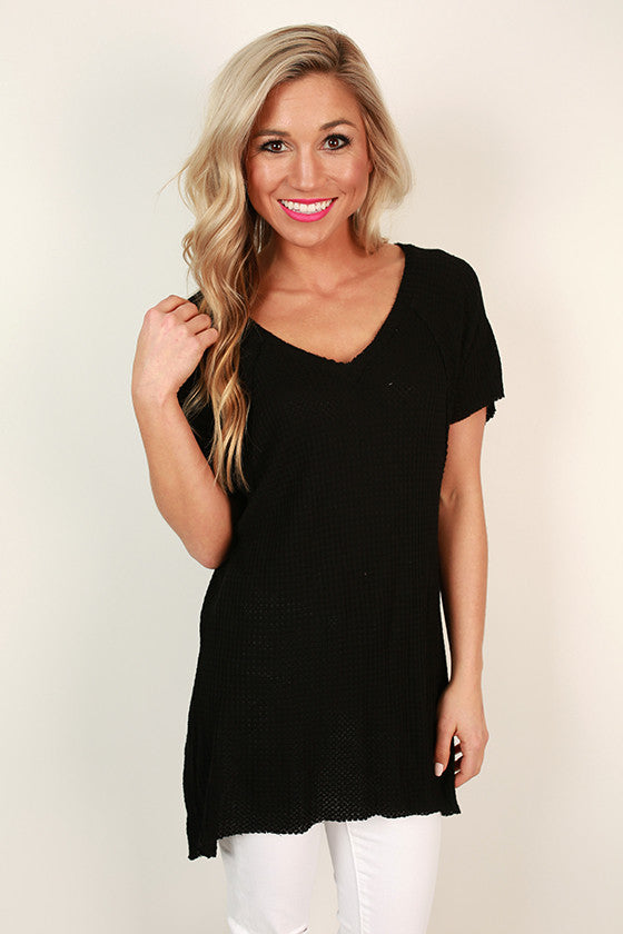 Brunch Party Thermal Tee in Black