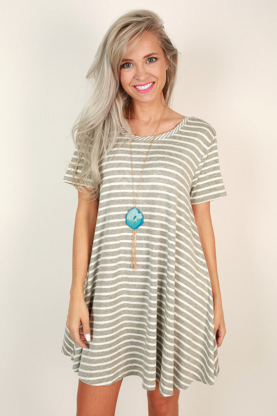 After School Stripe Dress in Grey
