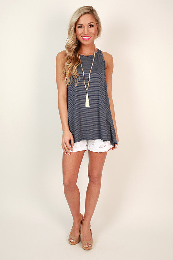 Stripes & Chic Split Back Tank in Navy