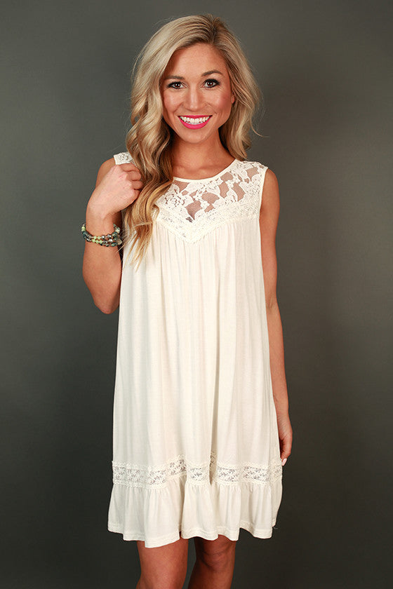 Garden Party Lace Shift Dress In White Impressions Online