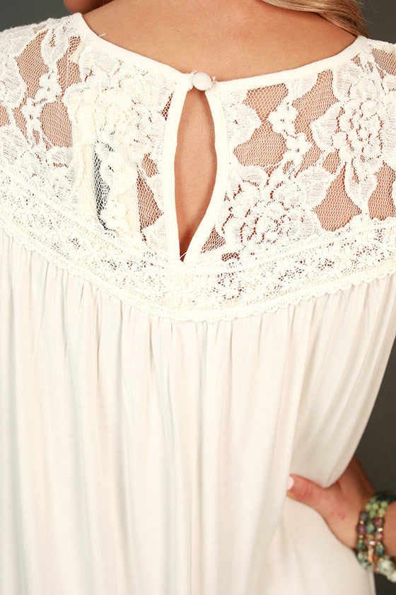 Garden Party Lace Shift Dress in White