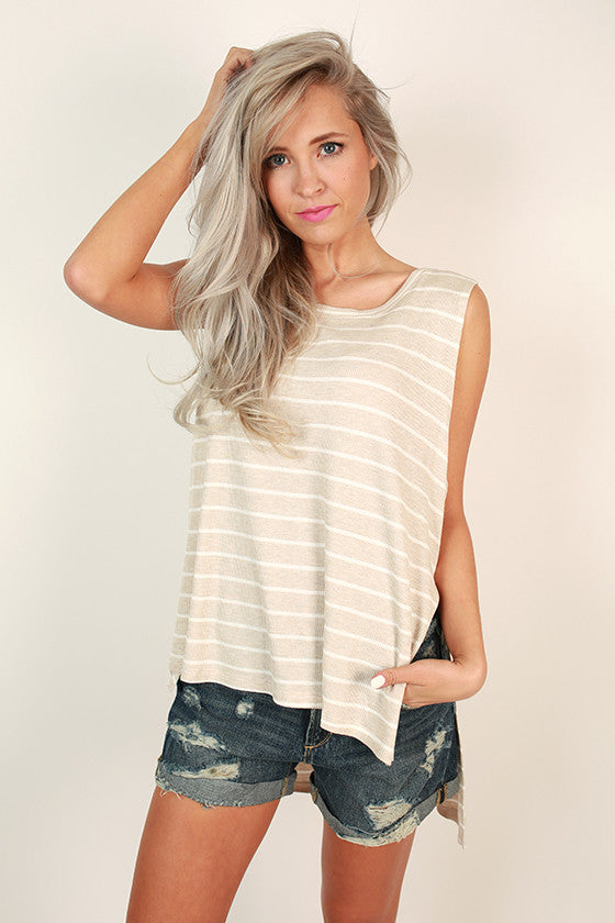 Stripes & Smiles Shift Tank in Birch
