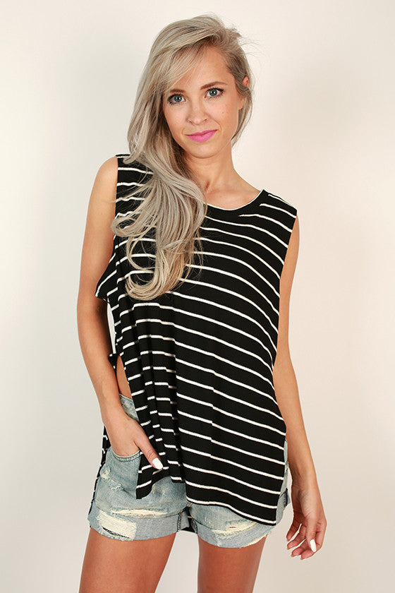 Stripes & Smiles Shift Tank in Black