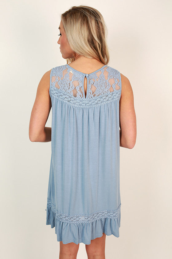 Garden Party Lace Shift Dress in Periwinkle