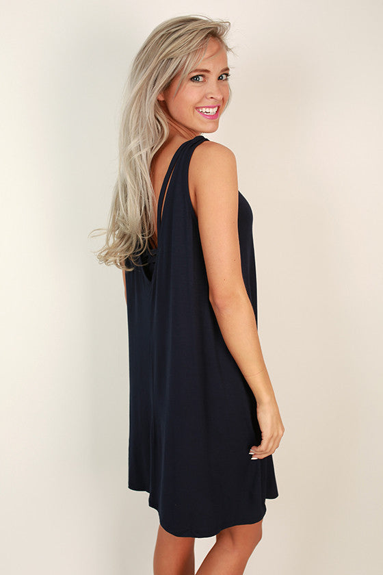 Beach Vibes Shift Dress in Navy