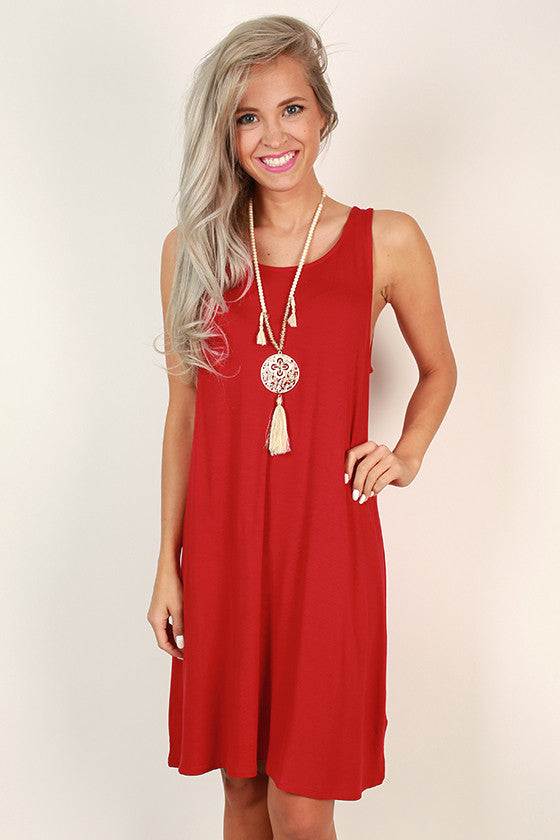 Beach Vibes Shift Dress in Scarlet