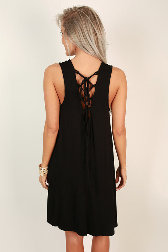 Vacation Vibes Shift Dress in Black