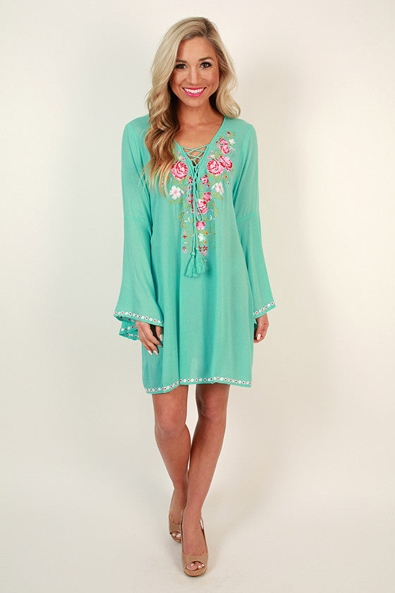 French Market Embroidered Shift Dress