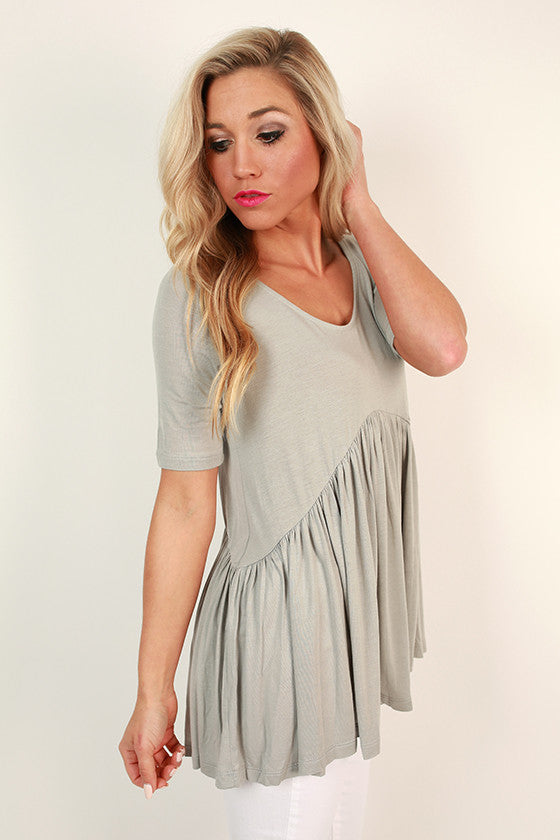The Good Vibes Babydoll Tee in Grey