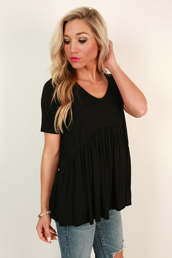 The Good Vibes Babydoll Tee in Black