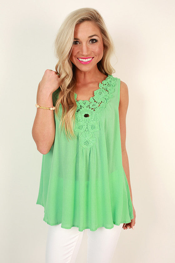 Classic Beauty Crochet Tank in Mint